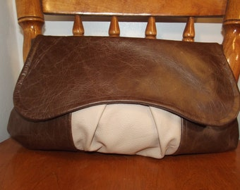 Oversized Leather Clutch Bag, brown, cream, autumn/winter colours,gift