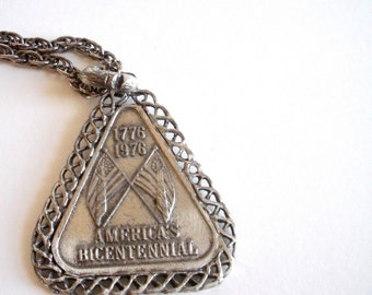 Bicentennial Necklace - Two-Sided - Flags and Minuteman