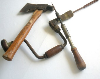 Vintage Tool Set, Wooden Handled Tools - Axe, Brace and Bit, Ratcheting Screwdriver - Instant Collection