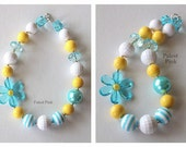 Turquoise Flower Chunky little girls Necklace