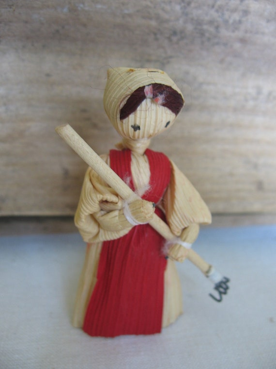 Cornhusk Dolls Christmas Ornaments Farm Girls with tools Lot of four