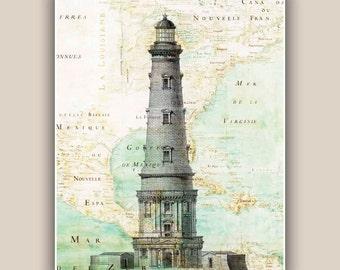 Lighthouse Print, 11x14 Print, vintage illustration on antique map of East Coast  America,  Nautical art, Marine decor, map art