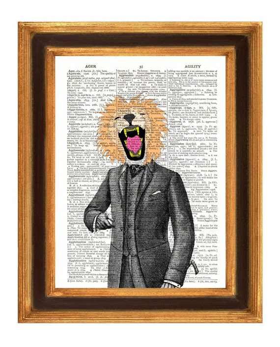 Lion man Print,  Dictionary Art  Print, Wall Art, Kids art, Upcycled book page print
