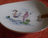 Vintage Lefton China Mermaid in a net ashtray 1950's