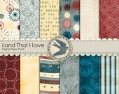 "Digital Scrapbook Paper Pack Instant Download - Land That I Love -12 12"" x 12"" Papers in Red White And Blue for Independence Day, Military"