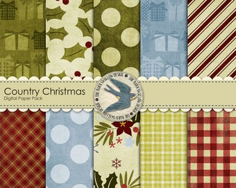 "Digital Scrapbook Paper Pack Instant Download  ""Country Christmas"" - 10 digital papers 12"" x 12"""