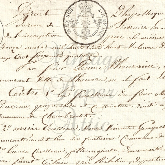 1818 Antique French Document with Ink & Embossed Stamps Gorgeous Handwriting from Vintage Paper Attic