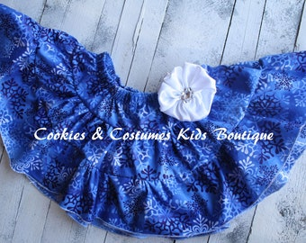 Blue snowflakes  twirling petti skirt with handmade satin flower and rhinestones for winter and Christmas