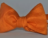 Orange Silk Mens Bow Tie