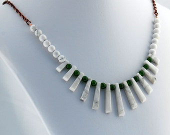 White Howlite and  Aventurine Fan Necklace, White Buffalo Stone, Natural Stone Necklace