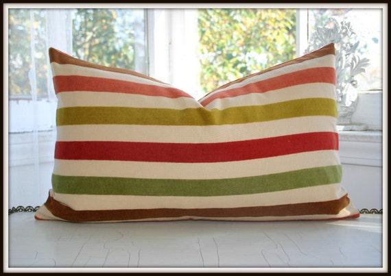Velvet Striped Lumbar Pillow Cover / 12x20 / By