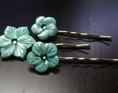 Turquoise Greenery  Flowers Mother of Pearl Bobby Pins -- set of 3 for Bridesmaids and Flower Girls