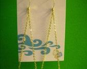 Puka Shell Chandelier Dangle Earrings on 14kt Gold Filled Chain