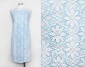 1950s Baby Blue Lace Shift Dress / Medium Vintage