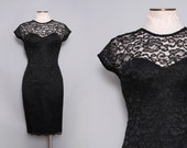 Vintage Black Lace Cocktail Dress / 1980s Sweetheart Illusion Dress / Small Medium
