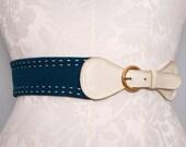 Navy & White Nautical Belt 1970s Vintage / Medium Large