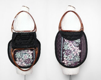 Large Quilted Floral Tote with Lucite Style Plastic Tortoise Handles 1980s Vintage