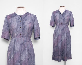 Sheer Dress. Shirtwaist Dress. Knee Length Dress. Vintage 70s Dress. Grey Light Purple Office Dress. Abstract Print Dress. Small Medium.