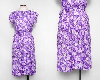 Vintage 70s Purple Floral Day Dress / Small Medium