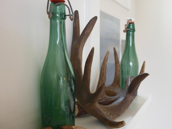 PAIR of VINTAGE EUROPEAN Green Bottles With Stoppers