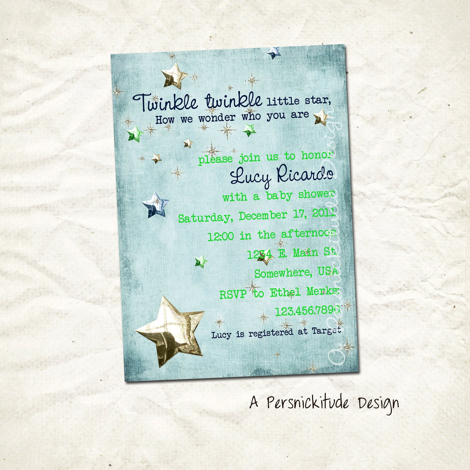 items similar to twinkle little star baby shower invitation print