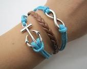 Adjustable Vintage Silver Bacelet  Blue rope  Anchor  Bracelet  Cuff  Bracelet  Vintage bracelet  Jewelry Bangle 1143S