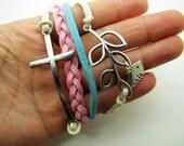 Adjustable silvery branch crossing bracelet women multicolor rope bracelet women jewelry bangle 1156S