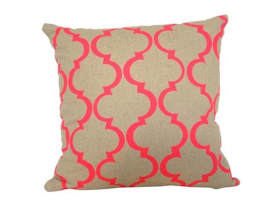 SALE: Cushion cover Geometric design. Fluro pink design on sand beige Linen/Cotton 35cm x 35cm