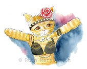 Belly Dance Cats Card Set of 2 from Original Watercolours
