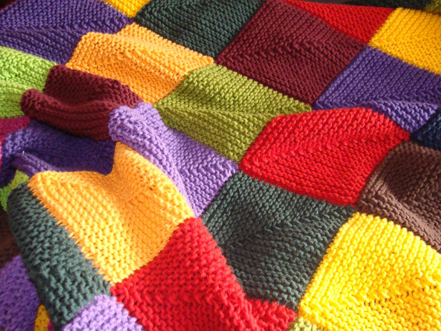 Knitting Blankets : Hand knitted blanket multicolor baby children designed by