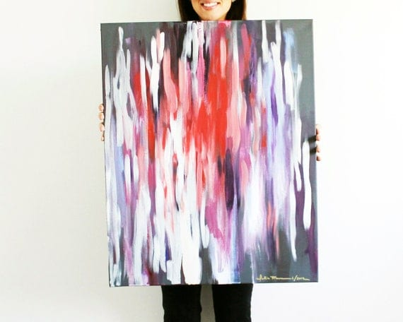 "24""x30"" Abstract, Dark Red, Ikat-Inspired, Original Painting"