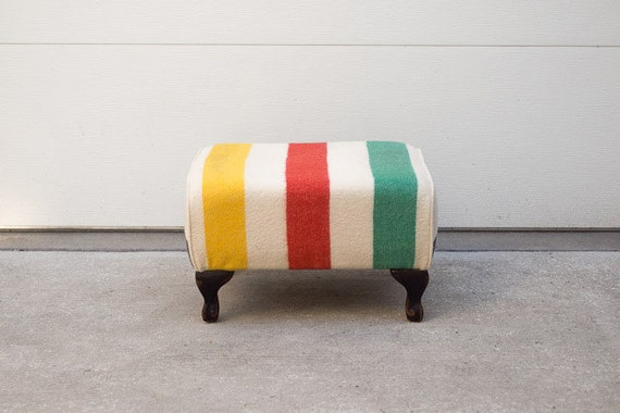 Custom Upholstered Hudson Bay Wool Blanket Ottoman