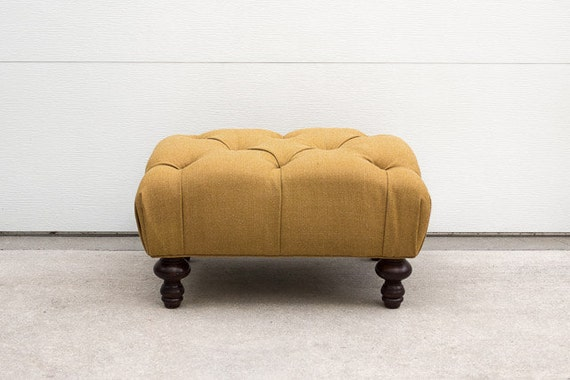 RESERVED Custom Upholstered Mustard Wool Tufted Ottoman