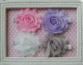 Hair Clip Set - 4 Frayed Shabby Fabric Rose Flower Hair Clips - Baby Hair Clips - Girl Hair Clips - Flower Hair Clips
