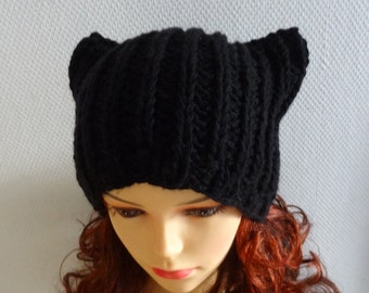 Knit BLACK Hat Cat Ears Hat Cat Beanie Chunky Knit Winter Accessories Black Cat Animals Hat - il_340x270.390803184_i2yn
