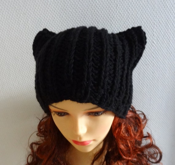 Knit BLACK Hat Cat Ears Hat Cat Beanie Chunky Knit by Ifonka