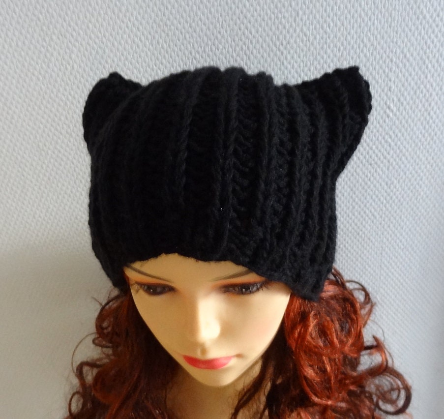 Knitting Pattern Kitty Cat Hat : BLACK pussyhat Cat Ears Hat Cat Beanie Chunky Knit by Ifonka