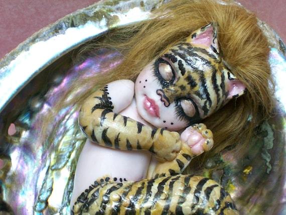OOAK art doll fantasy mermaid baby polymer clay sculpture holloween fairy tiger   IADR       free shipping