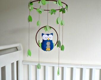 Owl mobile - woodland - Nursery baby mobile - Felt blue and gray owl - Nursery decor - MADE TO ORDER