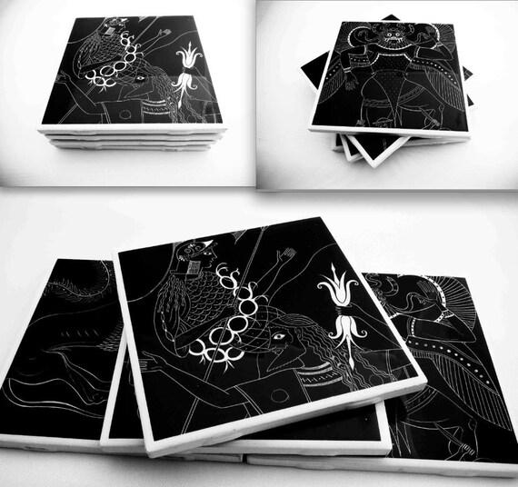 Ceramic Coasters, Upcycled Greek Myth, Set of Four, YOU CHOOSE