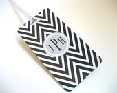 Luggage Tag 3-PACK- Black and White Chevron Custom Monogram Luggage Tag - Personalized Luggage Tag - Travel Tag - Your Monogram
