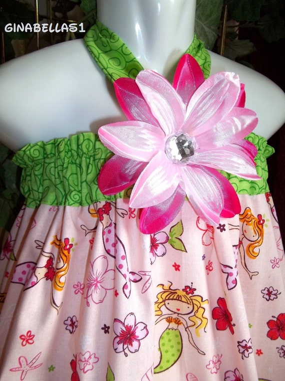 mermaid Under the Sea outfit dress Luau pool party Birthday halter knot pink green bow AVAILABLE size 9 12 18 MONTHS 2t 3t 4t 5 toddler