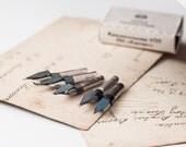 Vintage Ink Pen Nibs, 5 nibs, unused, Soviet Era