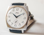Soviet men's wrist watch ZIM - silver watch - navy dark leather watch - Russian watch