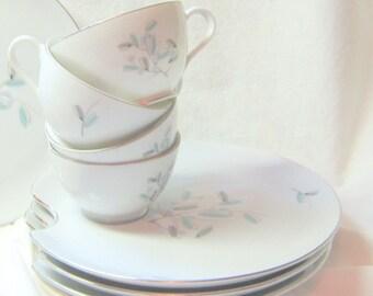 Vintage Mid Century Serving Set Cups Plates Luncheon Set Royal Sealy Cups Plates Aqua Grey Flowered China Cups Plates MidCentury China