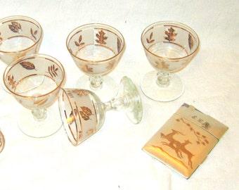 Vintage Gold Leaf Glasses Barware Gold Champagne Glasses Dessert Serving Wedding Bridal Shower Decor Mid Century Cocktail Glasses