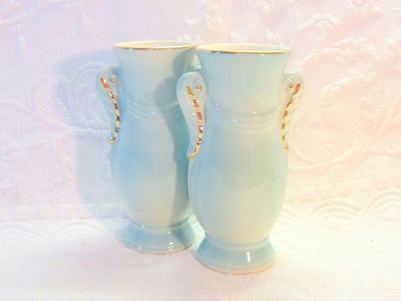 Mid Century Vases Pair Set Baby Blue Gold Hollywood Glamour Art Deco Home Decor Bedroom Glamour