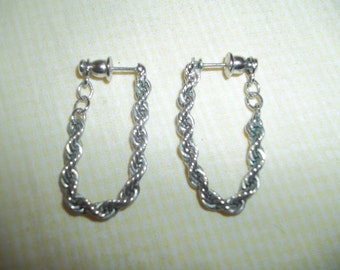 Stunning Silver Chain Earrings Signed Napier -Two Ways To Wear