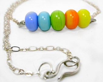 Tropical Neon Artisan Lampwork, Sterling Silver chain, yellow,orange,green,teal,blue