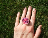 Pink and purple glitter rose ring